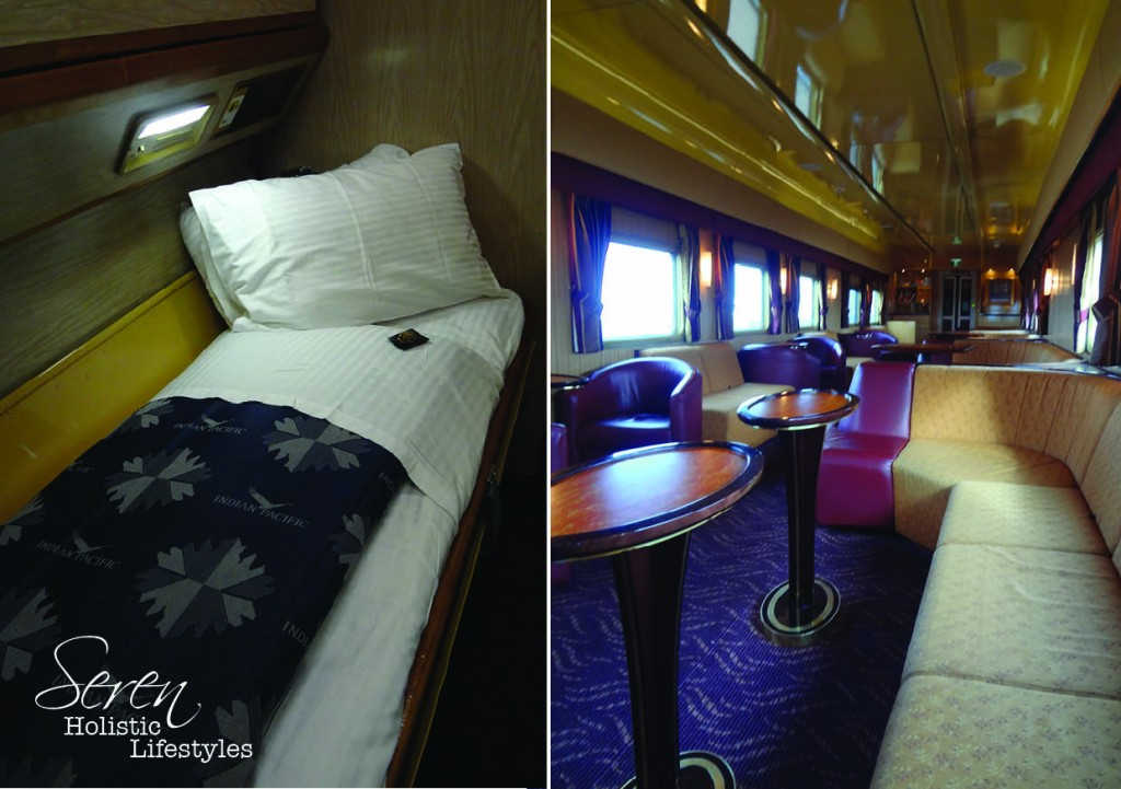 Left: my bunk for the night. Right: the Outback Explorer lounge