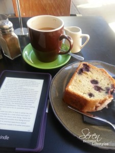 Solo dining is Soul nourishing. Organic coffee, homemade cake & my Kindle. Who could complain with that?