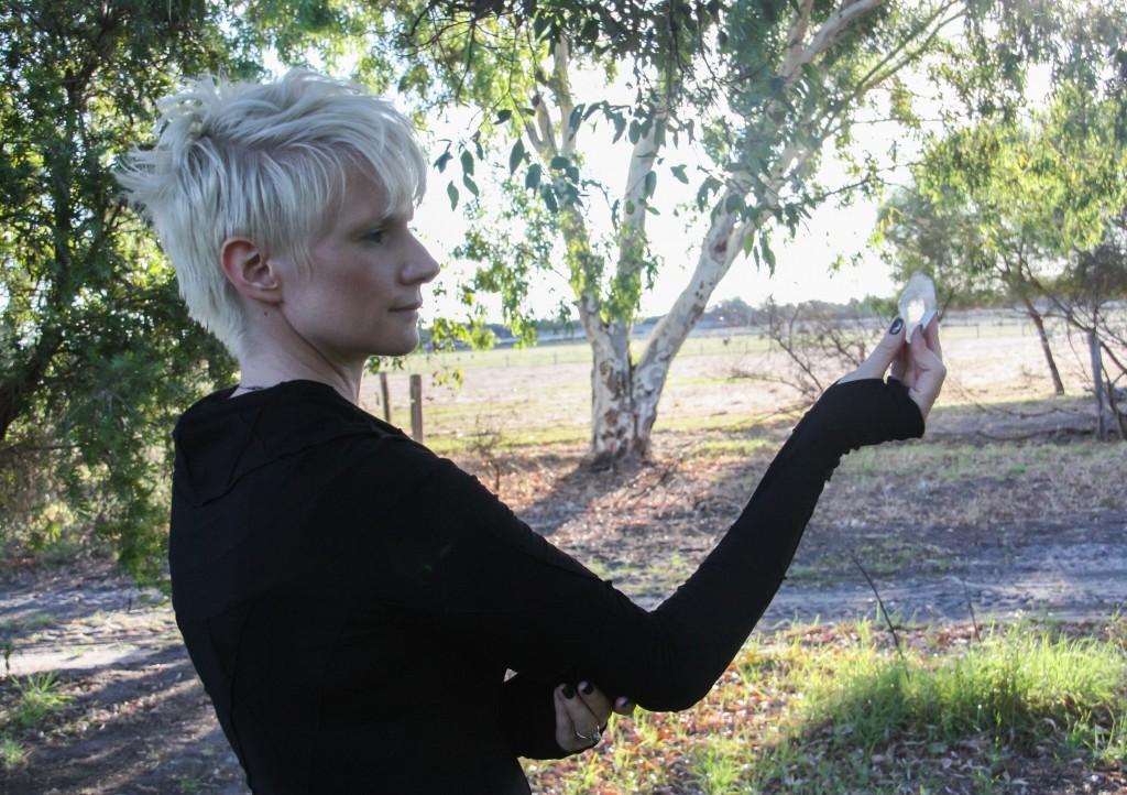 Web me holding quartz